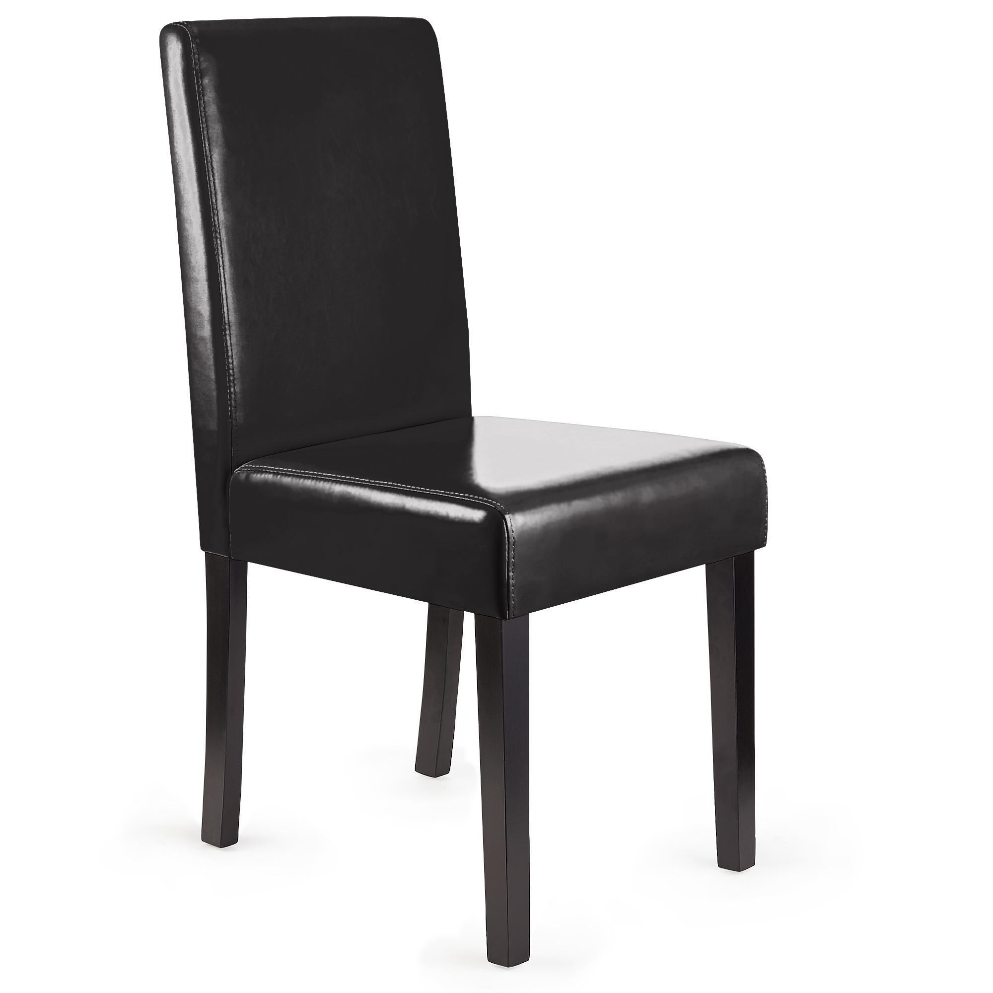 Lote 6 sillas de comedor litau piel natural piel negra y for Sillas de comedor de piel