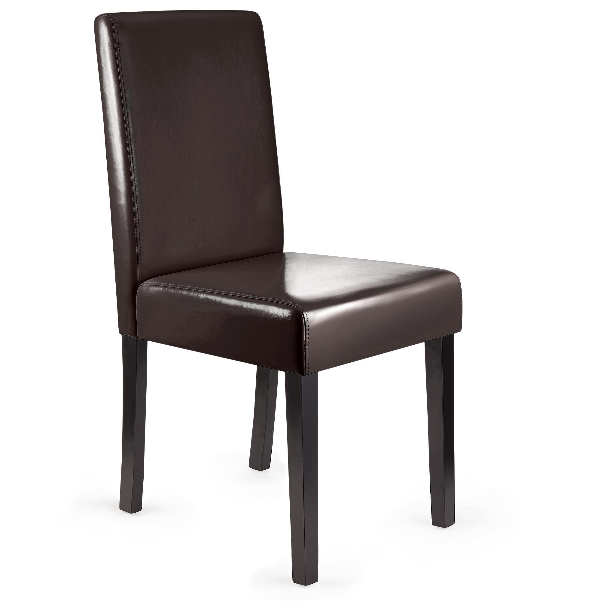 Lote 6 sillas de comedor litau piel natural color marr n for Sillas de comedor tapizadas en piel