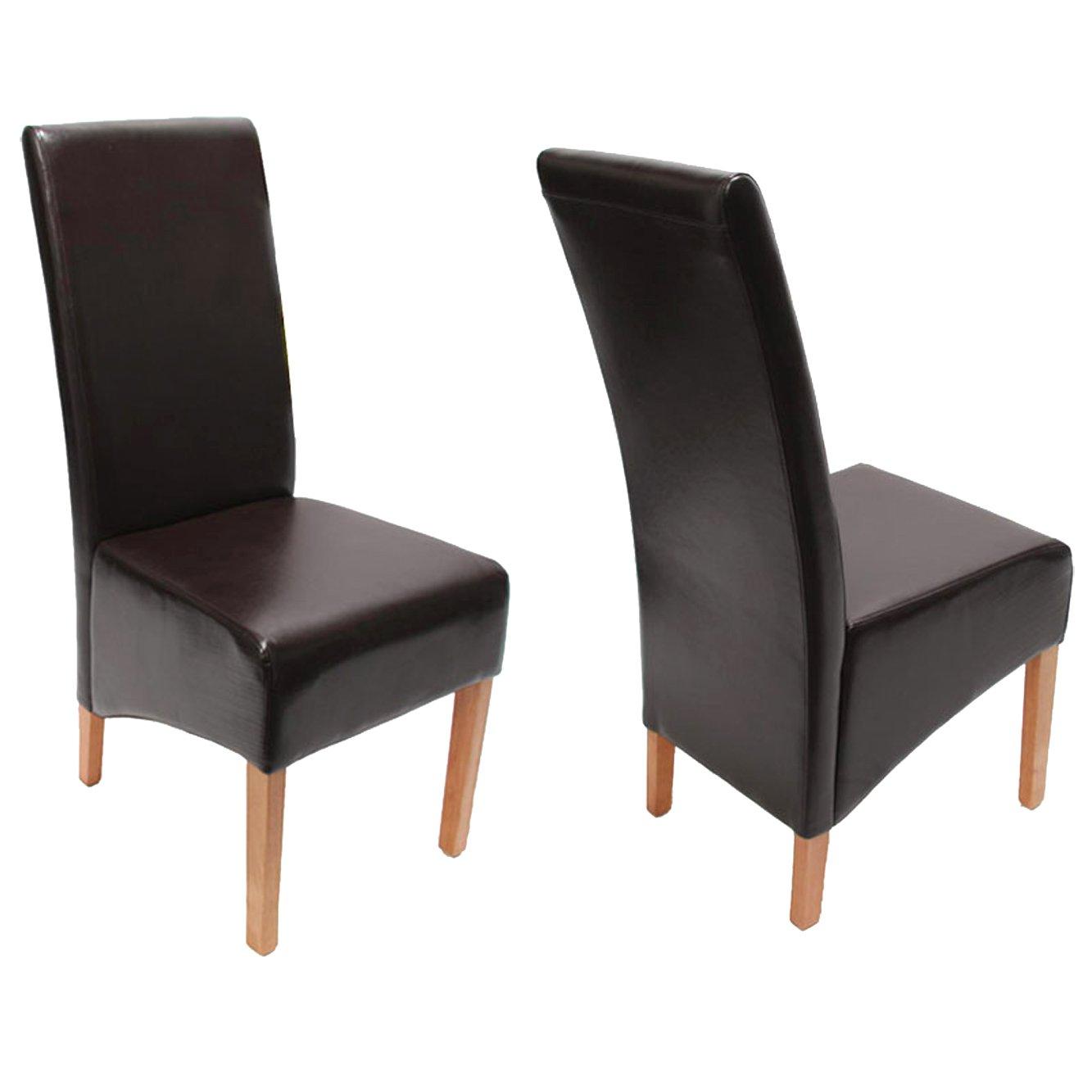 Lote 6 sillas de comedor siena ii en piel marr n lote 6 for Sillas comedor cuero marron