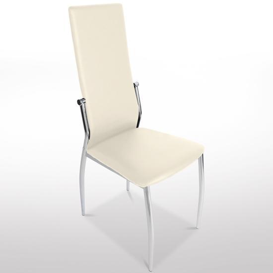 Lote 4 sillas de cocina bari en piel crema y patas for Sillas comedor patas cromadas
