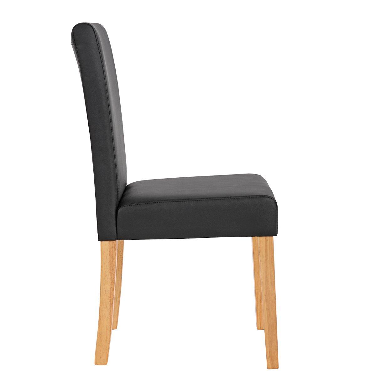 Conjunto 4 sillas de comedor litau en piel mate negra - Sillas comedor piel ...