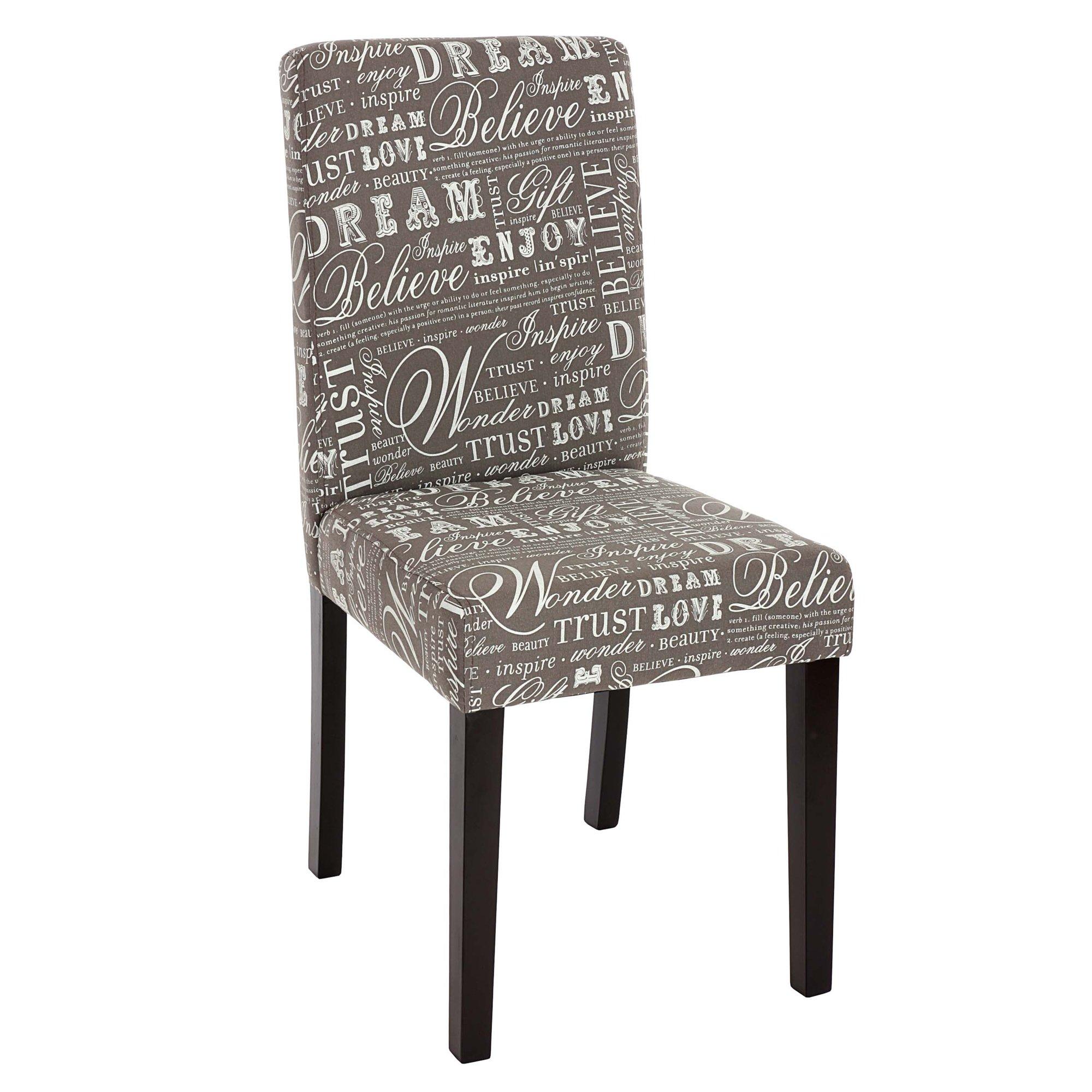 Lote 2 sillas dali en tela dise o letras gris y patas for Sillas para comedor tapizadas en tela