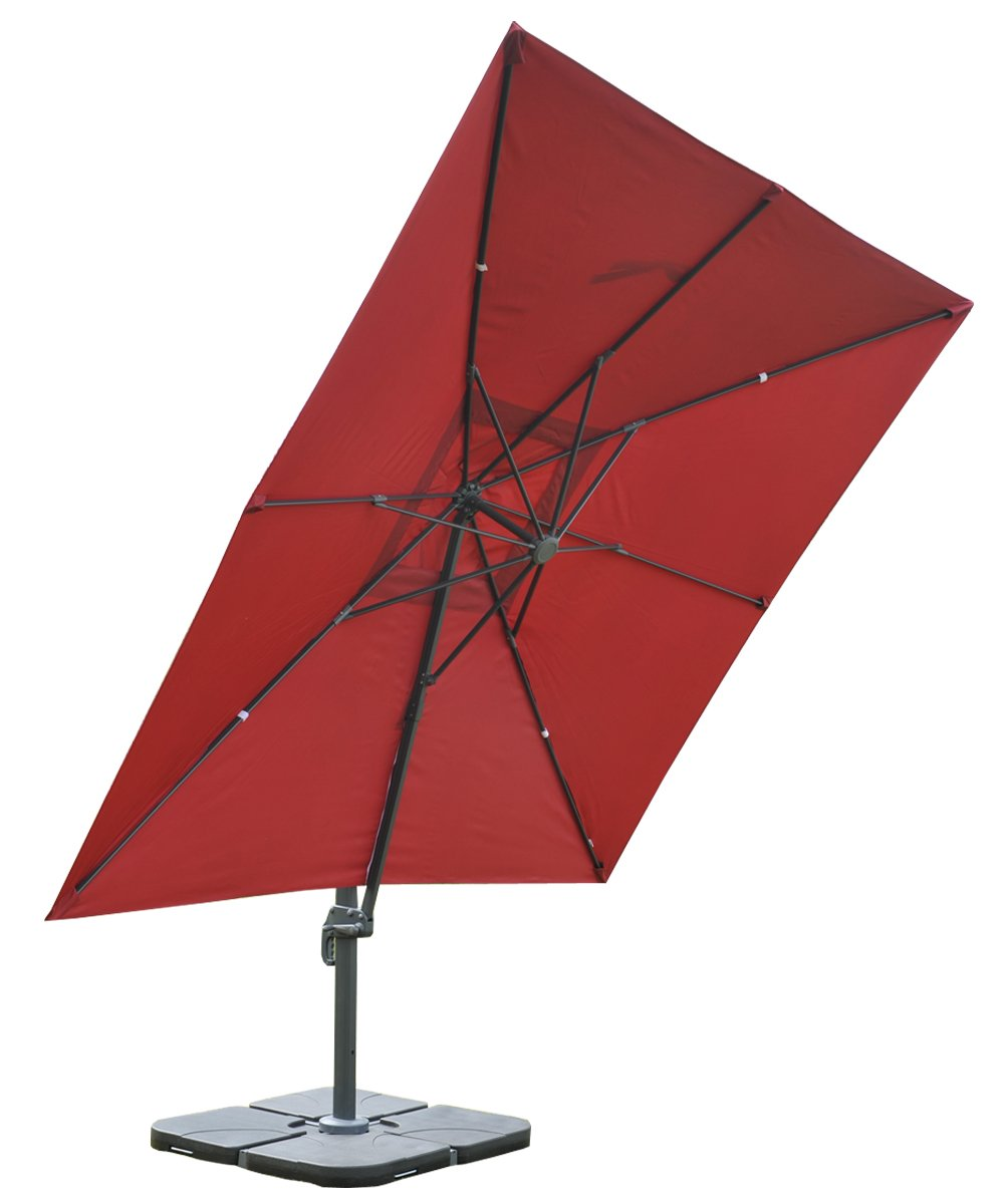 sombrilla parasol apolo con soporte y giratoria 3 x 3 metros terracota ajustable. Black Bedroom Furniture Sets. Home Design Ideas
