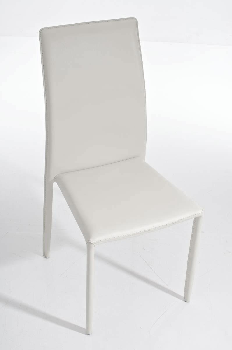 Silla de comedor o cocina alena apilable color blanco for Sillas de piel para comedor