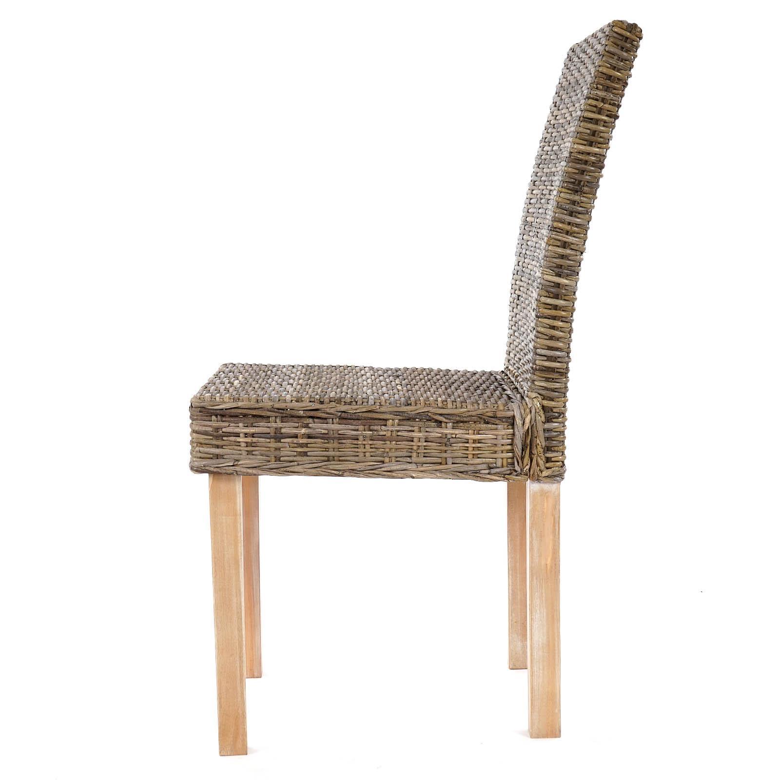 Lote de 6 sillas de Comedor LUCA, En Poly Rattan, Color Gris - Homy.es