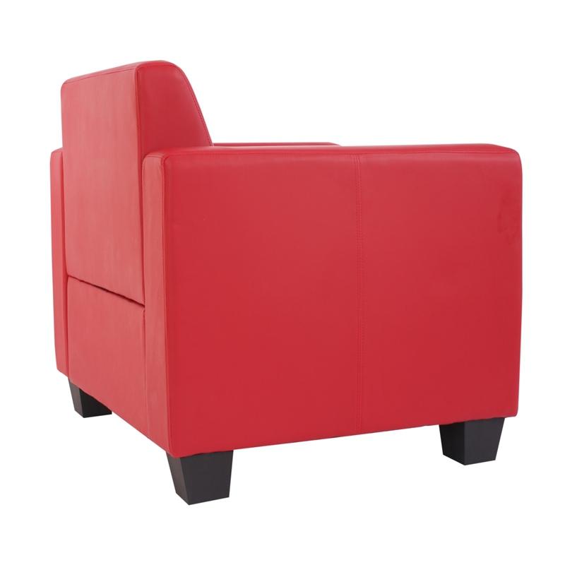 Sillón modular modelo LYON, en cuero sintético rojo
