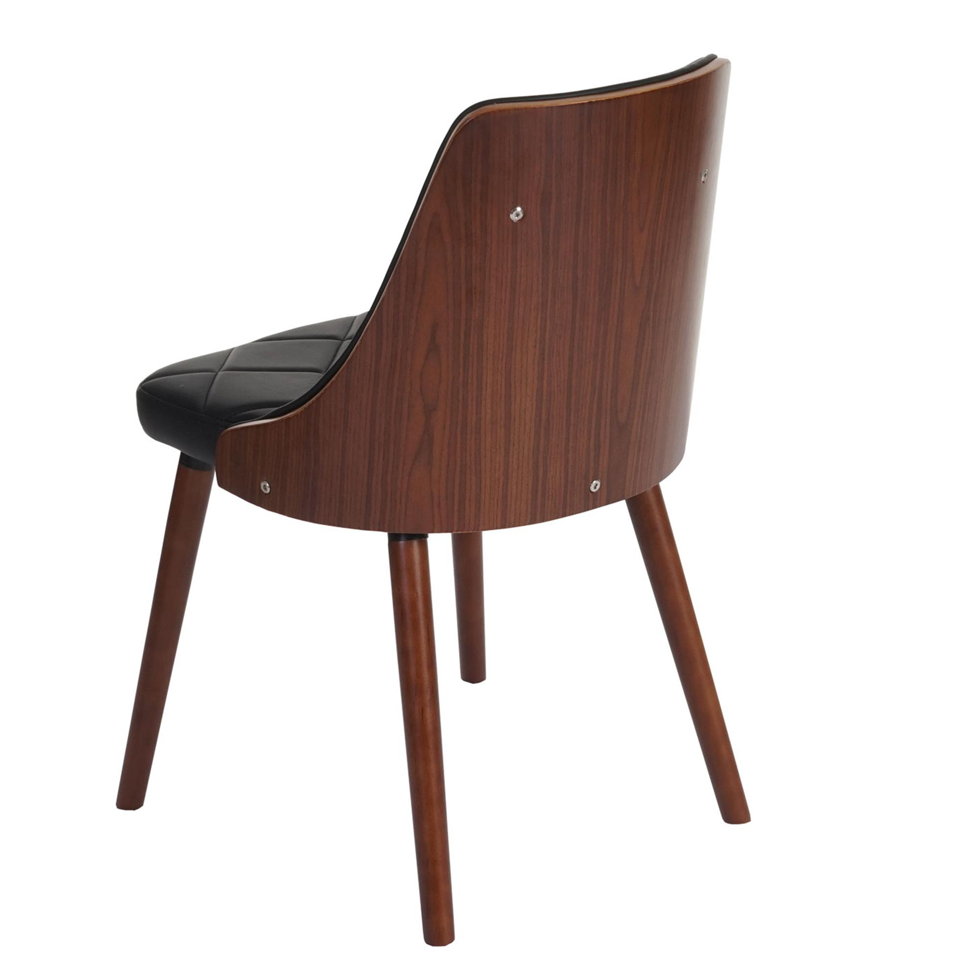 Lote 2 sillas de comedor baley en piel negro conjunto 2 for Sillas de piel para comedor
