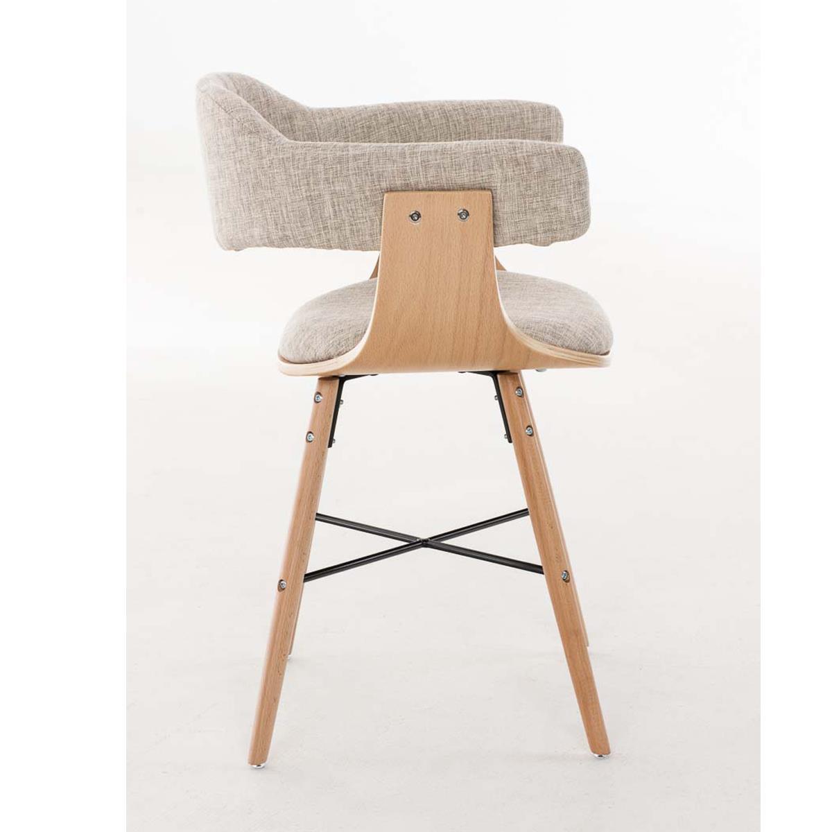 Silla de comedor albatros en tela color crema y - Tela para sillas de comedor ...