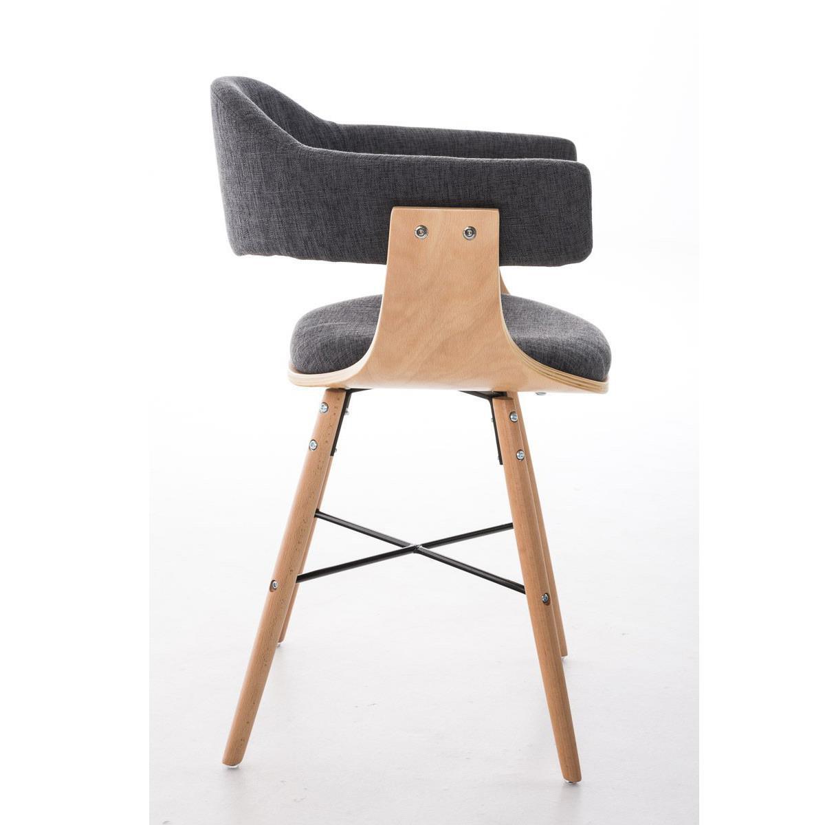 Silla de comedor albatros en tela color gris claro y - Tela para sillas de comedor ...
