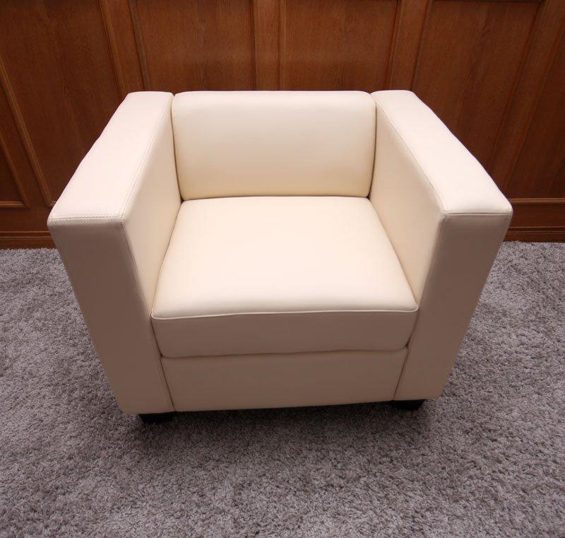 Sof individual lille en cuero color crema sof for Sofa individual precio