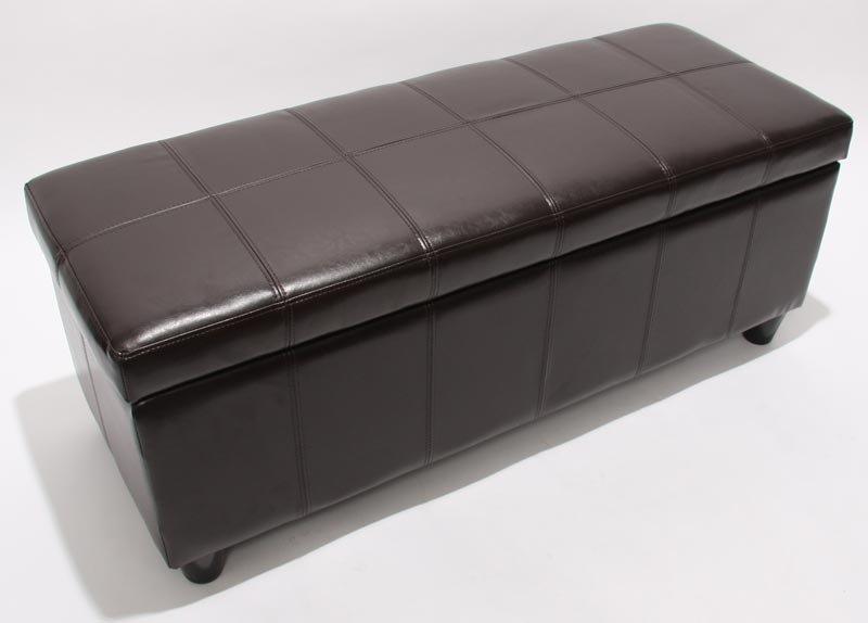 Arcón banco KIEN muy confortable 112x45x45cm Piel Marrón