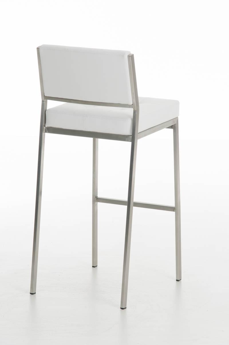 Taburete de bar o cocina elena estructura en acero inoxidable asiento acolchado en piel blanco - Taburetes de diseno para cocina ...