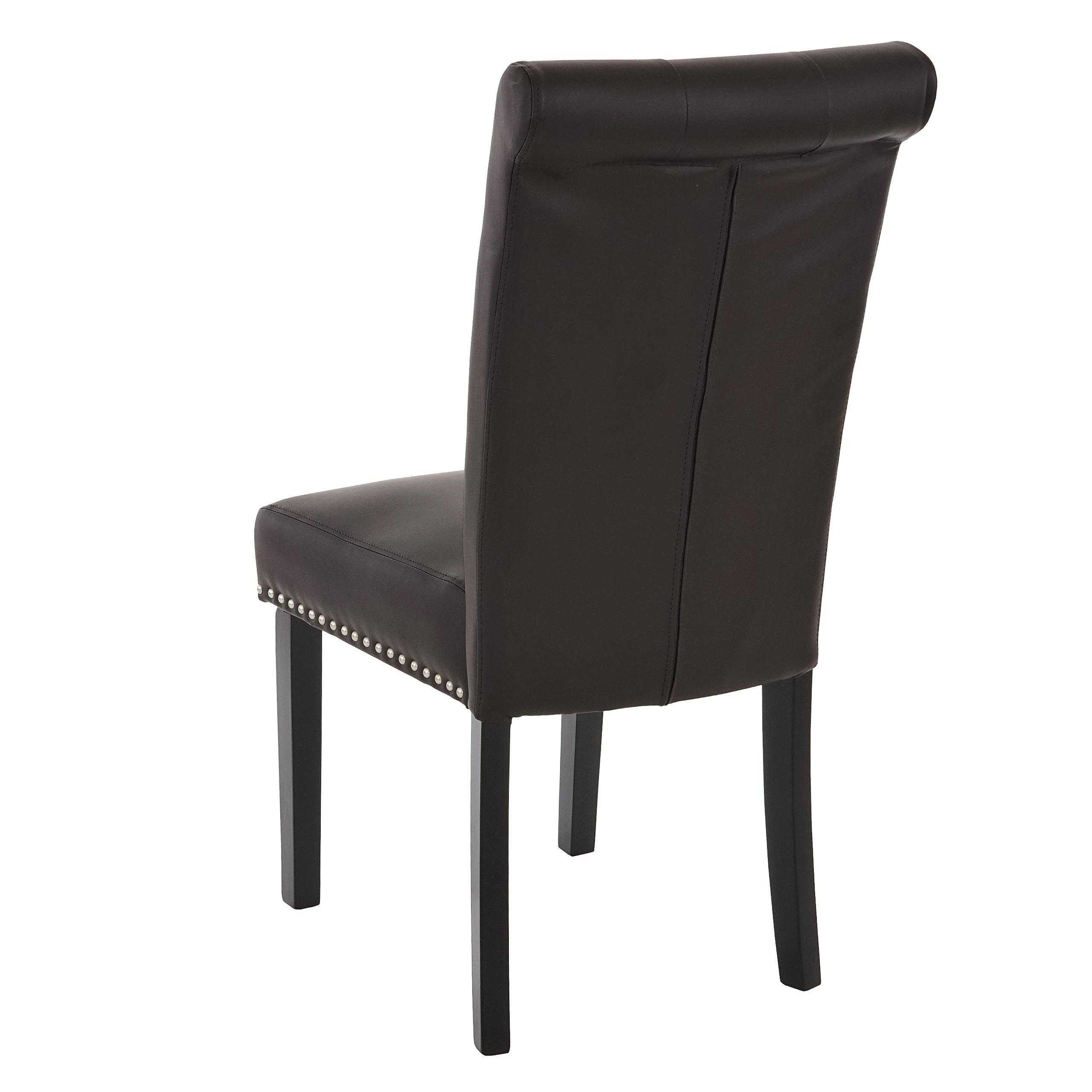 Conjunto de 2 sillas de comedor odesa piel marr n y patas for Sillas de comedor tapizadas en piel