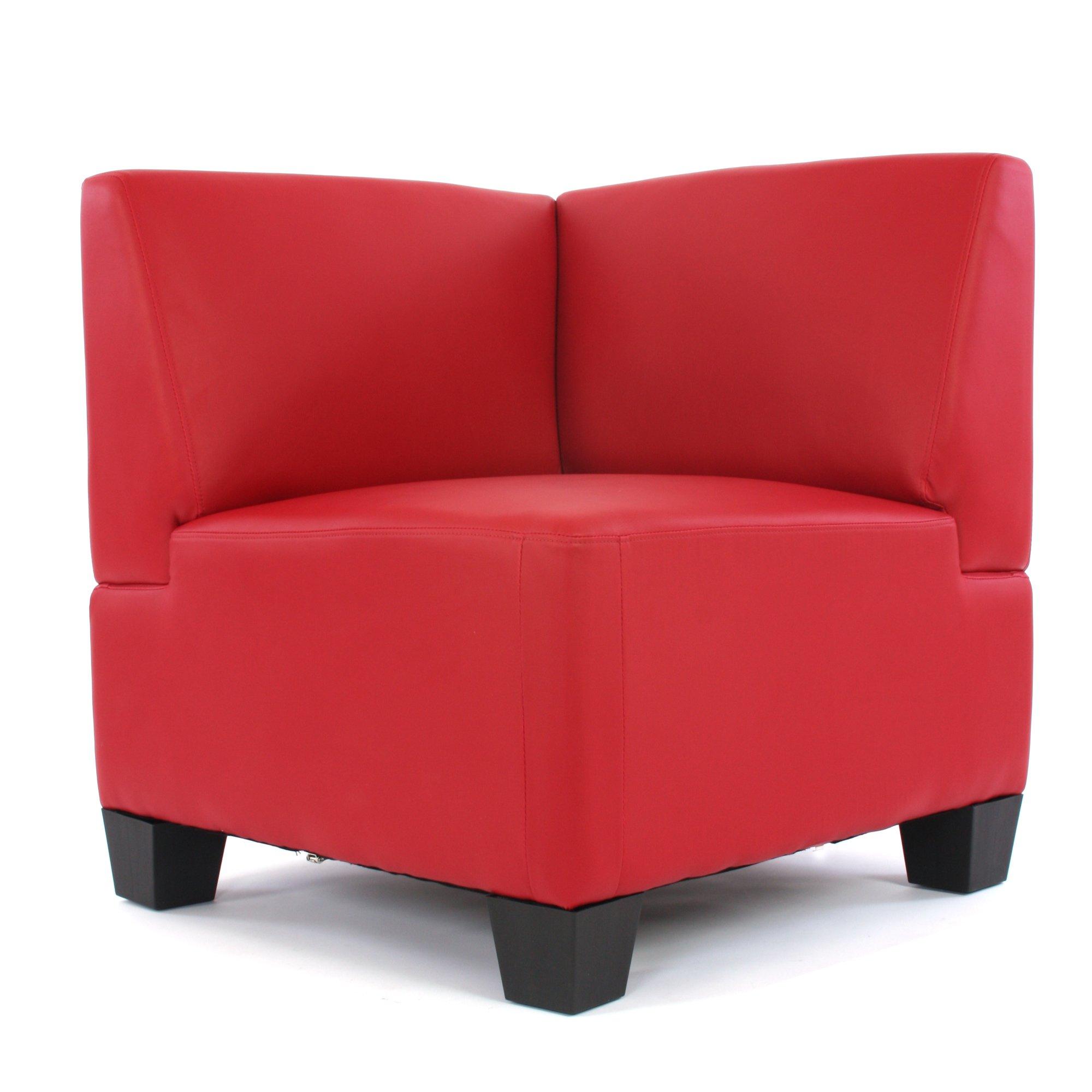 Sof esquinero modular lyon en cuero sint tico rojo sofa for Sofa piel esquinero