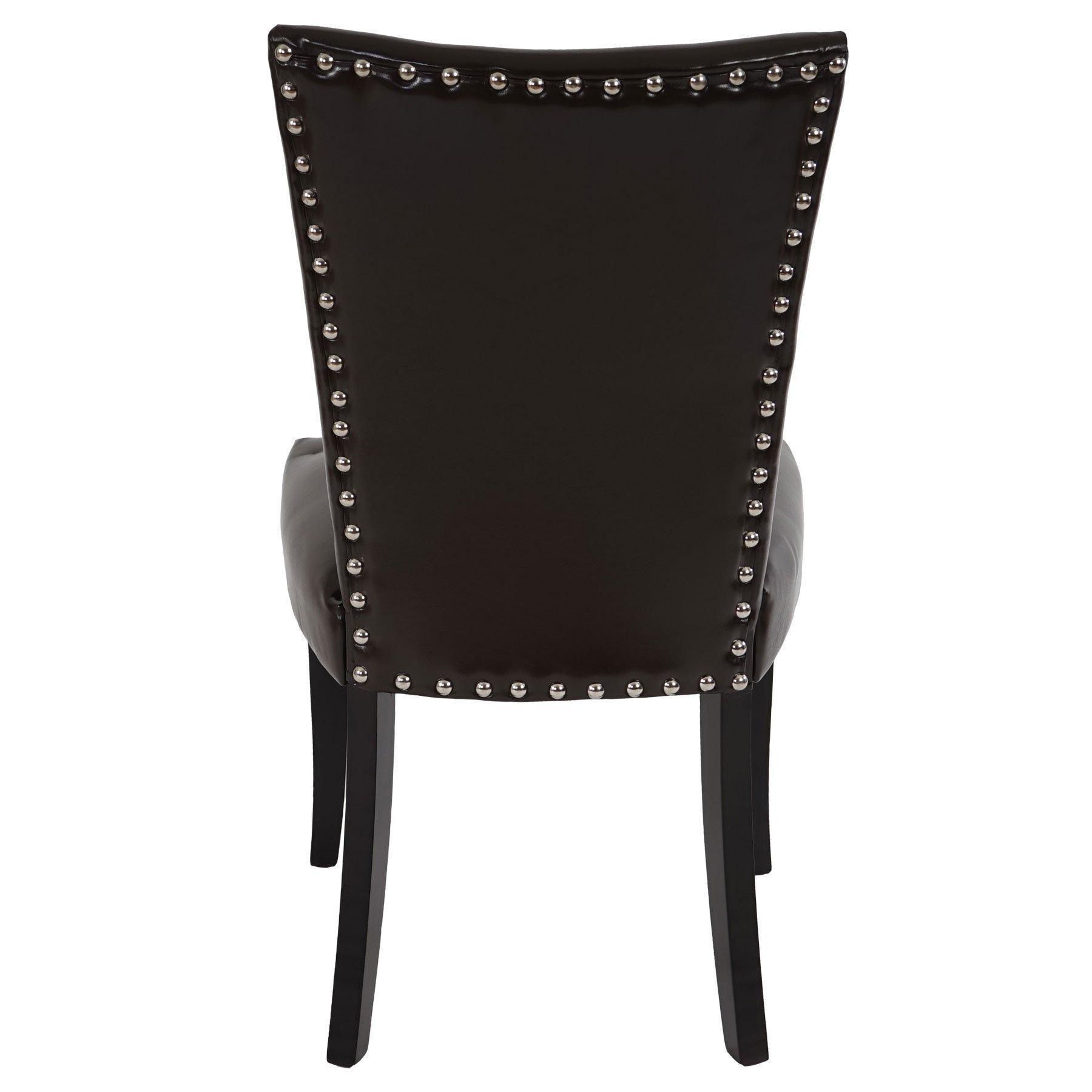 demo lote de sillas de comedor augusto piel marrn y patas oscuras diseo retro con remaches