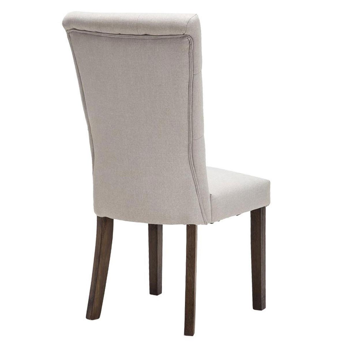Silla de comedor selena tapizada en tela color crema - Tela para sillas de comedor ...