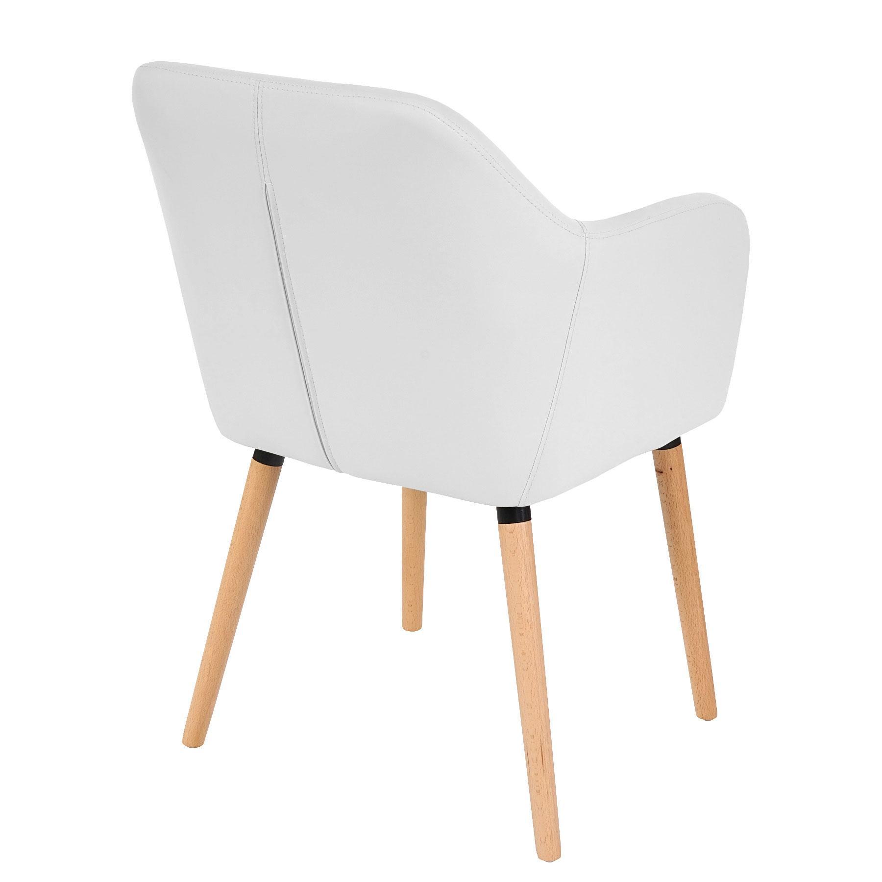 Lote de 6 sillas de comedor tulio tapizadas en piel color for Silla blanca patas madera ikea