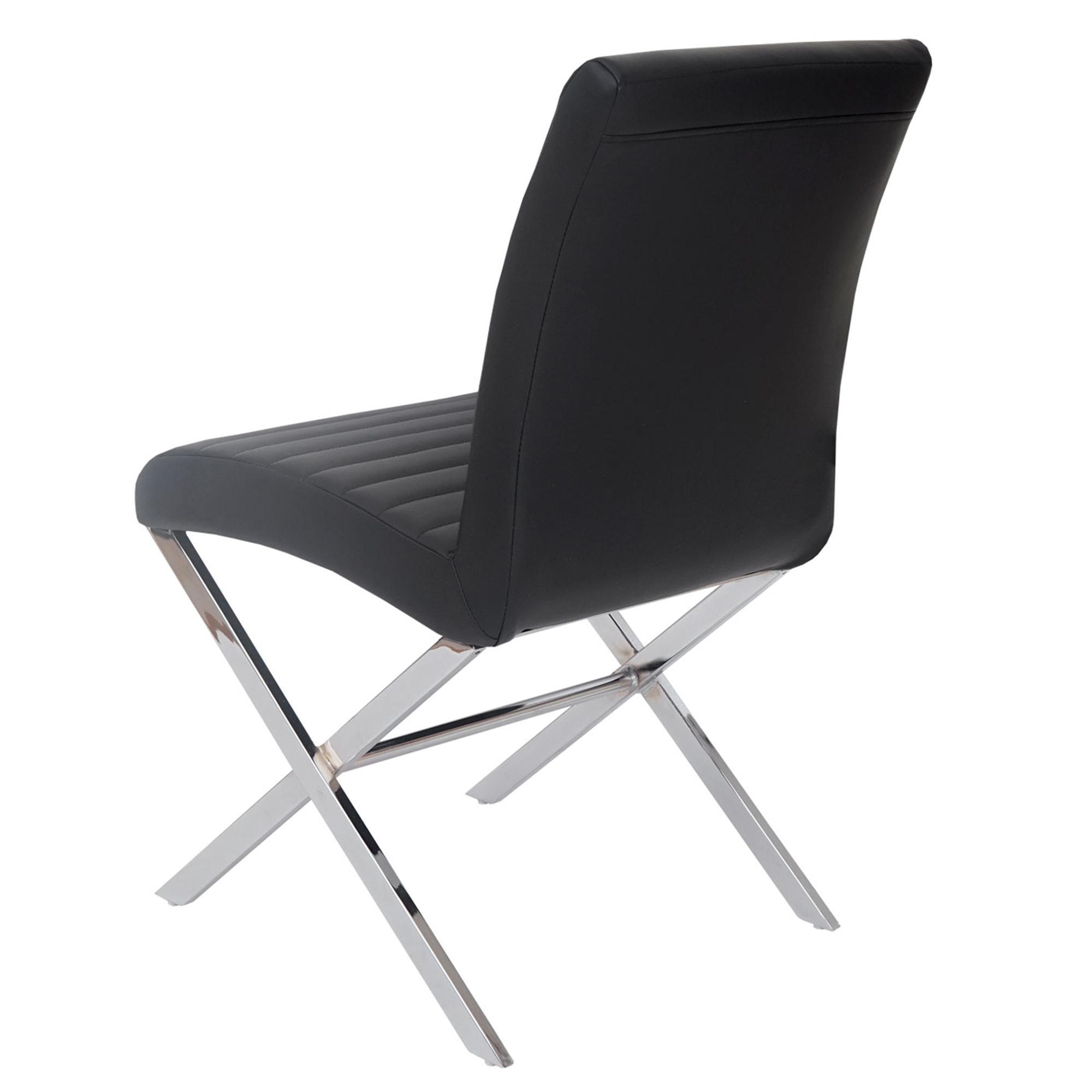 Lote de 4 sillas de comedor giorgio piel negra y patas for Sillas de comedor de cuero