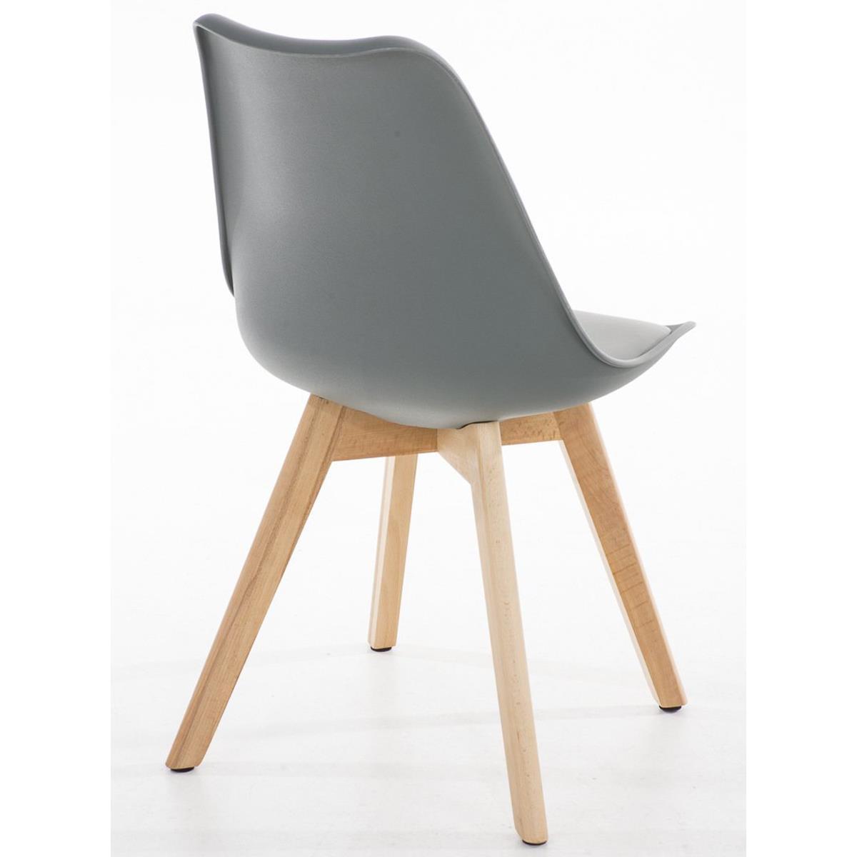 Conjunto de 6 sillas de comedor loren color gris y patas for Sillas comedor plastico