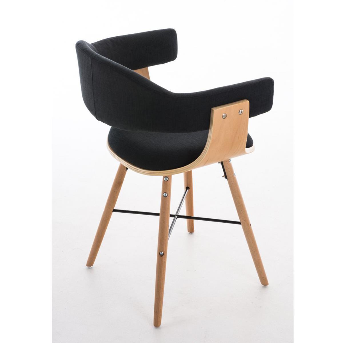 Conjunto de 4 sillas de comedor albatros en tela color negro y estructura de madera natural for Comedor 4 sillas madera