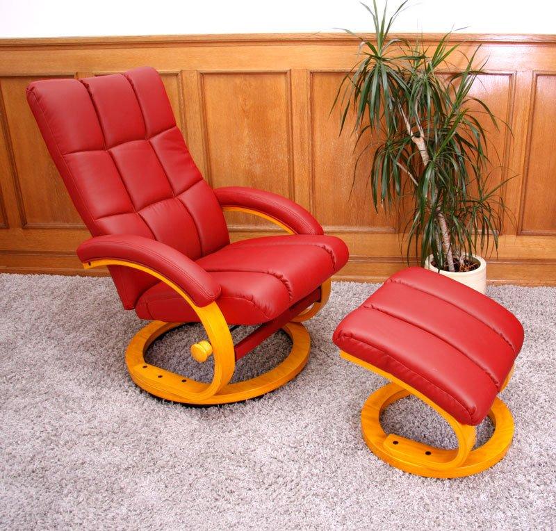 Sillón Relax reclinable M57, mas auxiliar Otomano, tapizado en piel ...