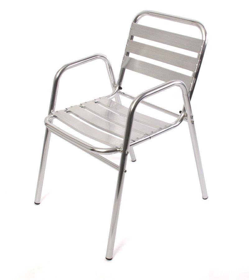 Conjunto de jard n mesa redonda 2 sillas apilables for Muebles de aluminio para jardin