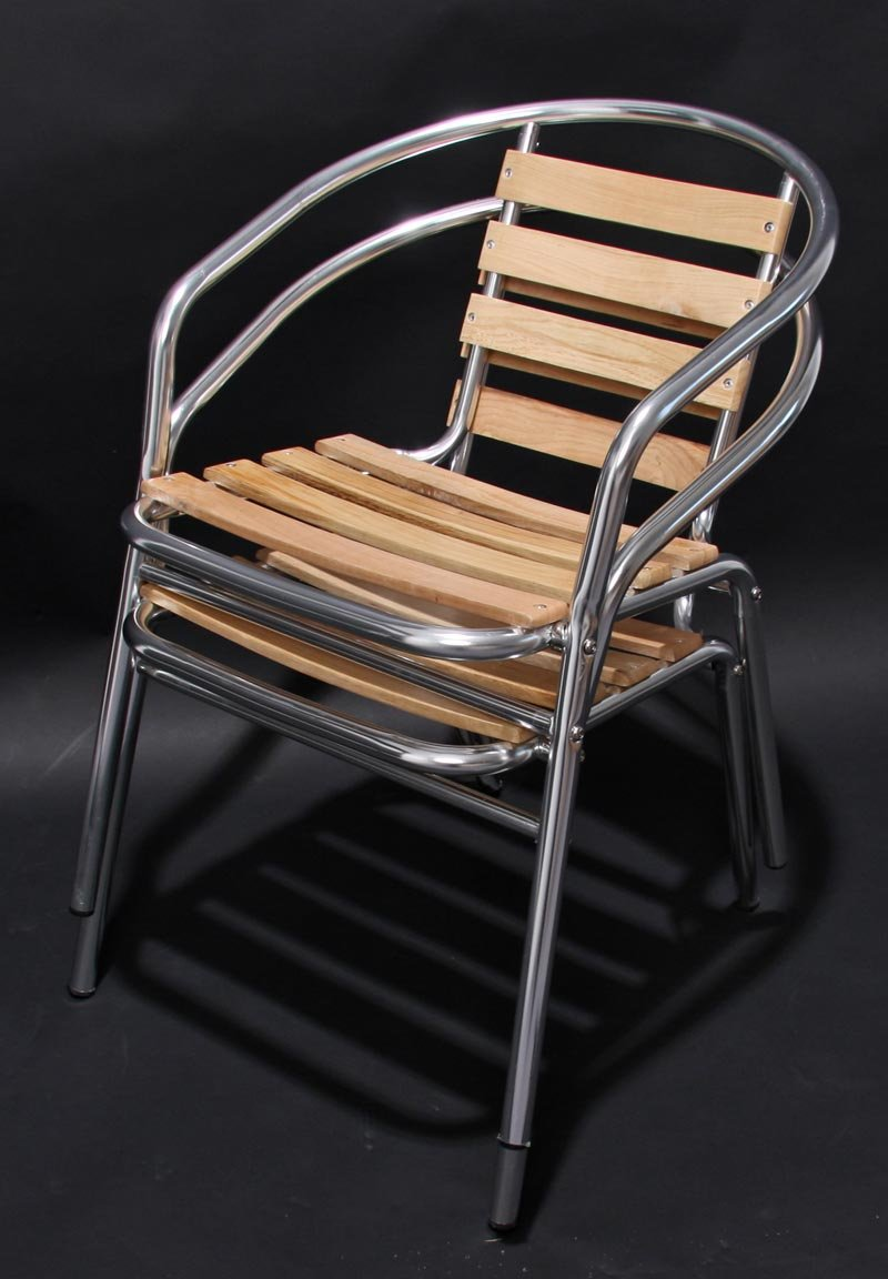 Conjunto Muebles de Jardín BISTRO, 1 mesa +4 Sillas en madera y aluminio