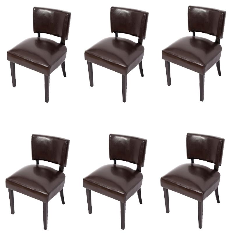 Lote 6 sillas n3 acolchadas en cuero marr n y patas for Sillas comedor cuero marron