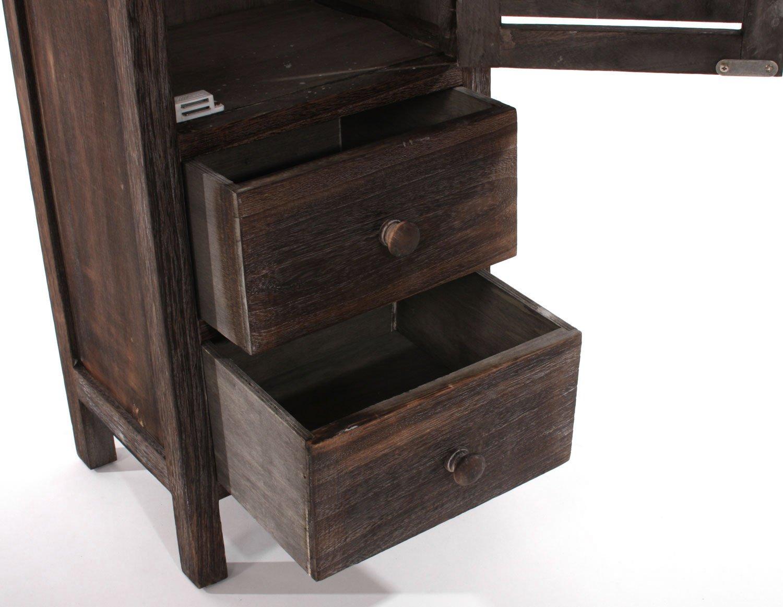 Mueble alto de 90x30x25cm acabado antiguo estilo vintage marr n - Muebles estilo antiguo ...