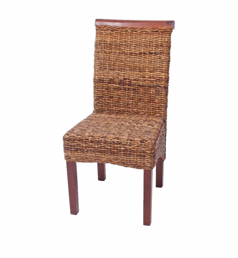 Lote 4 sillas m45 en madera mimbre marr n y patas madera for Sillas mimbre comedor