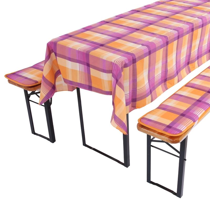 Juego de fundas acolchadas y mant l violeta a cuadros para for Fundas para mesas de jardin