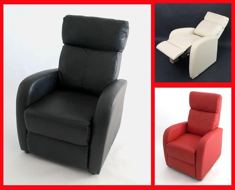 Sill n relax reclinable m47 en polipiel rojo sill n - Sillon individual relax ...