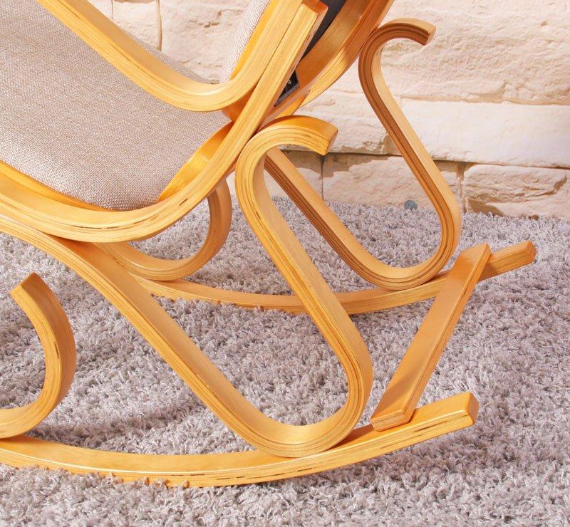 Mecedora de madera m41 en color roble tela beige for Sillas de madera tapizadas en tela