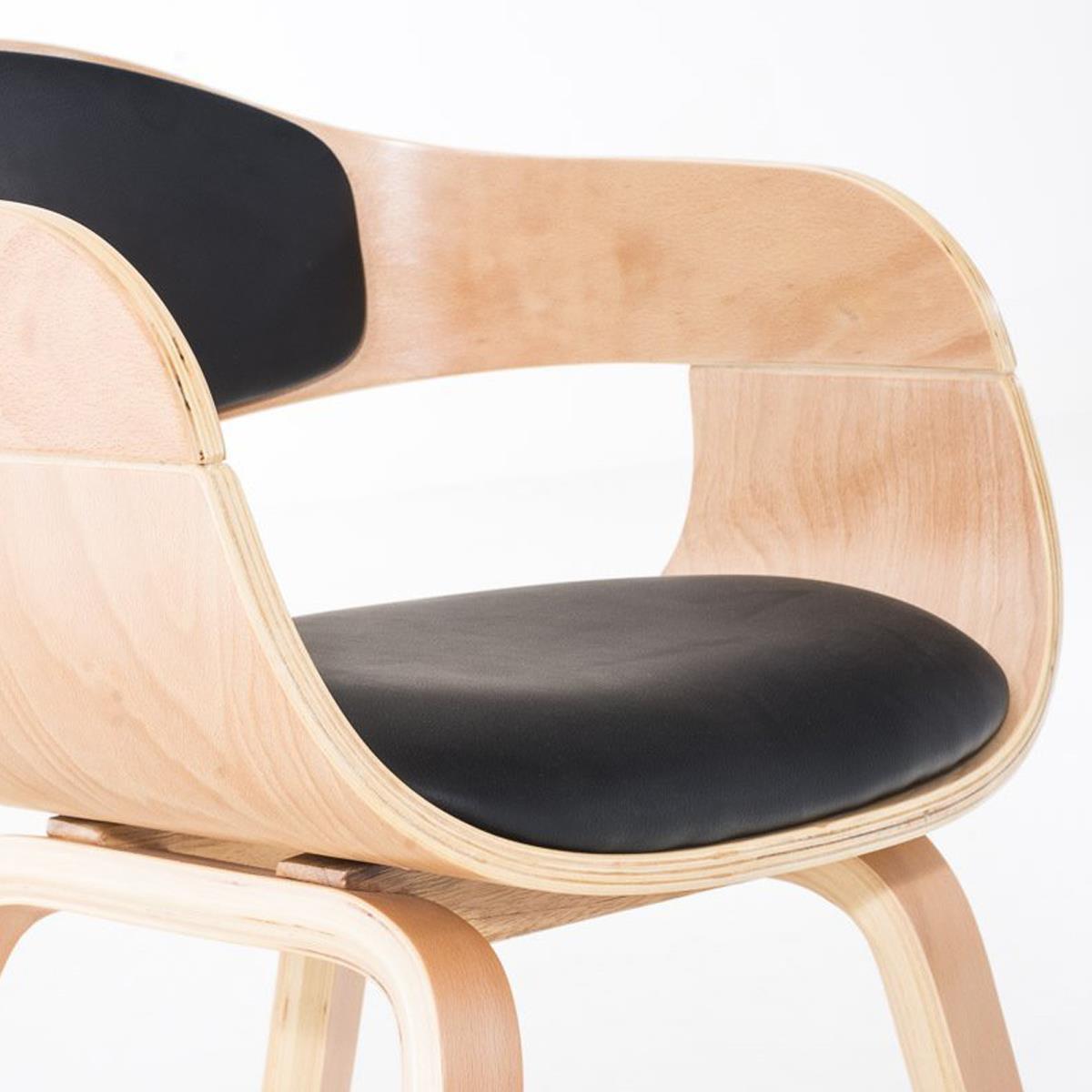 Conjunto de 6 sillas de comedor mafo tapizadas en piel for Sillas de comedor negras