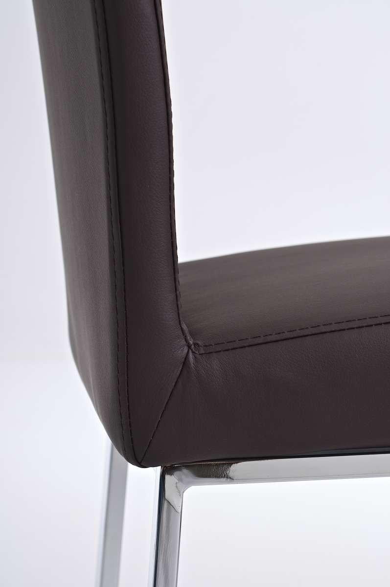 Silla de comedor o cocina c08 en polipiel marr n silla for Sillas comedor cuero marron