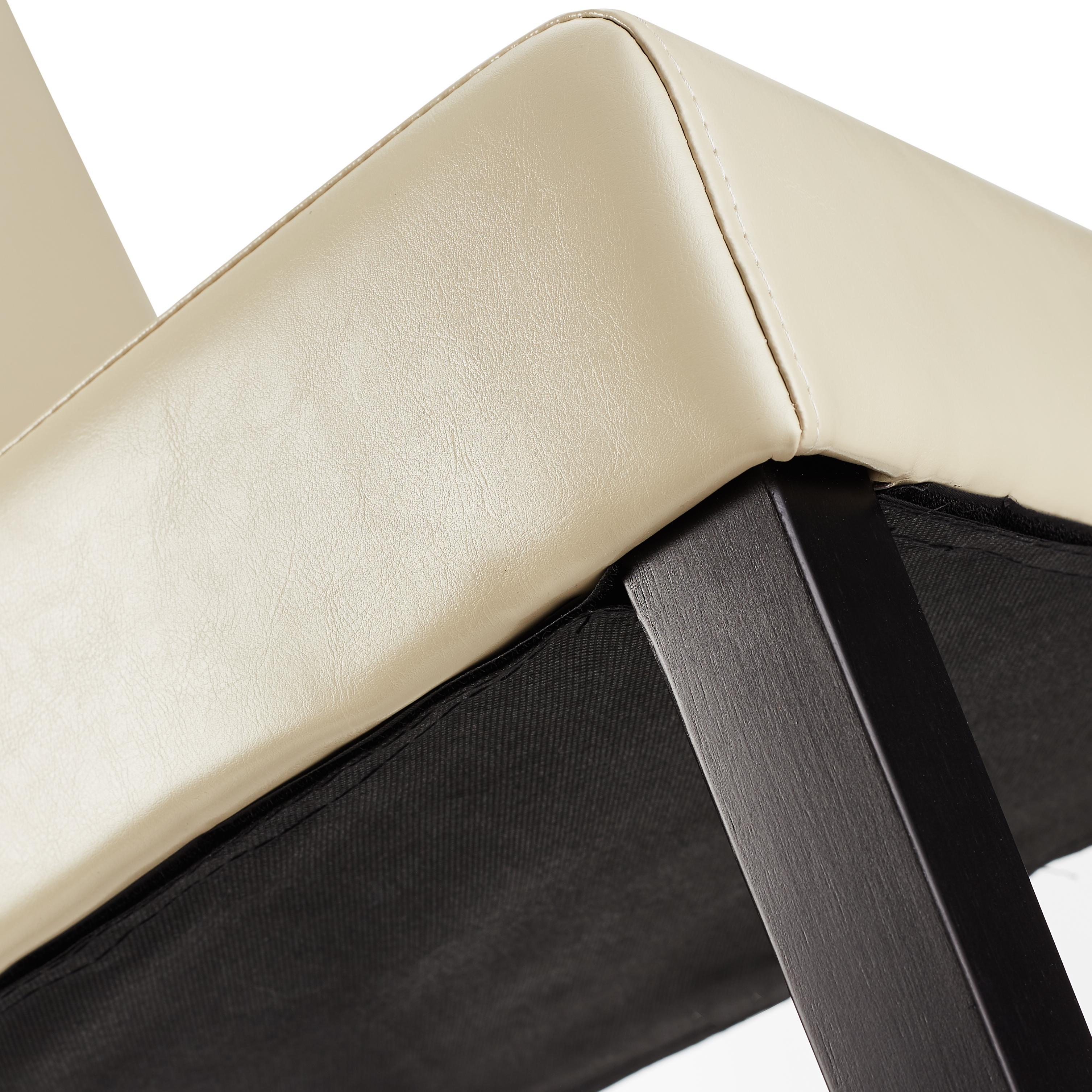 Lote 6 sillas M01 madera y polipiel crema, patas oscuras - Lote 6 ...