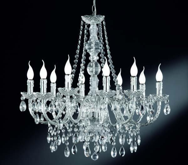 L mpara de ara a con 10 bombillas vidrio transparente l mpara de ara a para 10 bombillas - Lamparas de arana de cristal ...