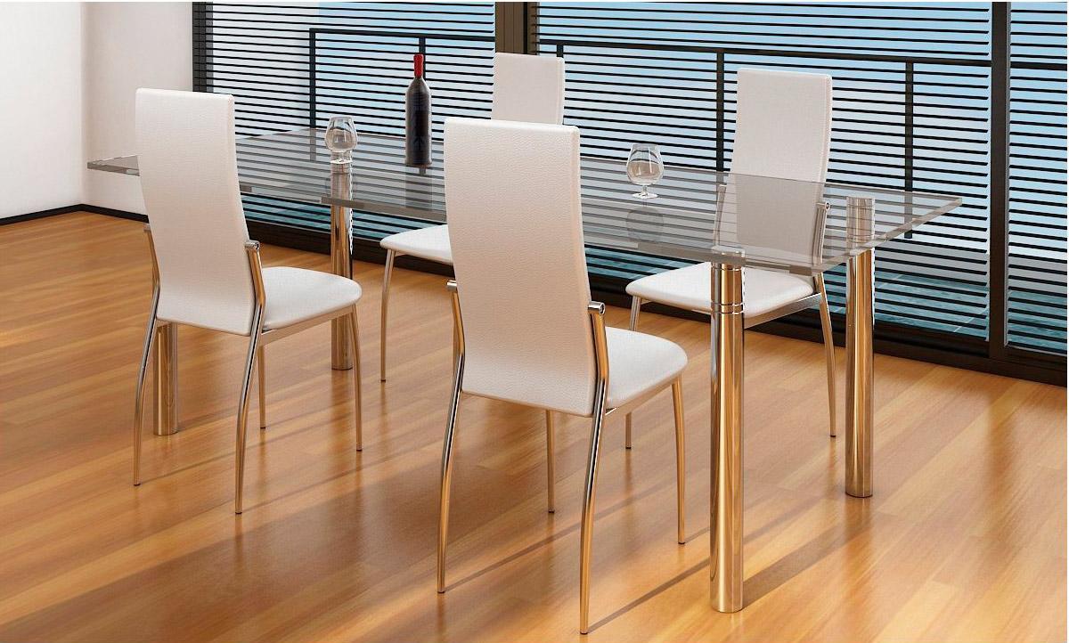 Lote 4 sillas de cocina bari en piel crema y patas for Sillas cromadas para comedor