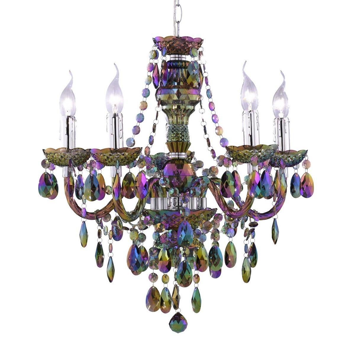 L mpara de techo tipo ara a 5 bombillas arcoiris l mpara de techo tipo ara a con 5 puntos - Lamparas de arana de cristal ...