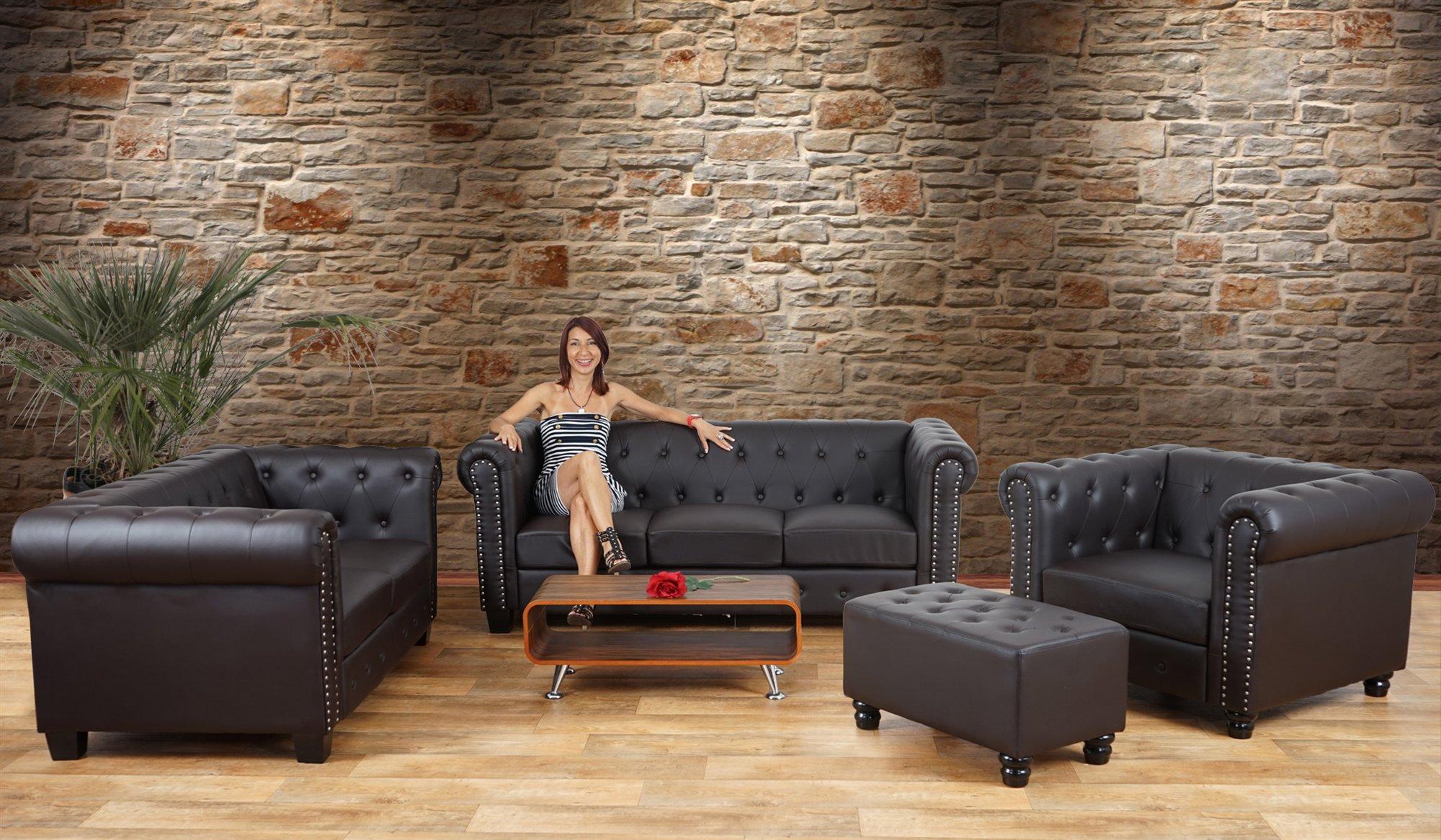 Sillón Relax Chesterfield de cuero negro, gran diseño - Sillón Relax ...