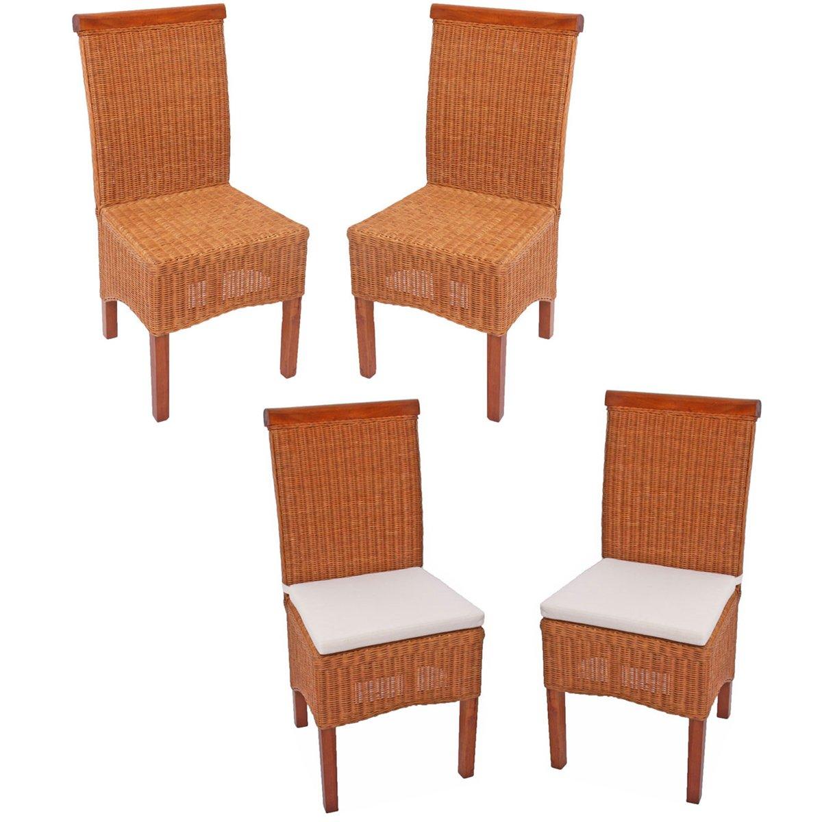 Lote 4 sillas m42 en madera y mimbre color marr n claro cojines incluidos lote 4 sillas de - Cojines sillas comedor ...