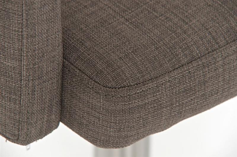 Taburete de dise o pau en tela color gris base en acero inoxidable m xima calidad y confort - Color gris acero ...