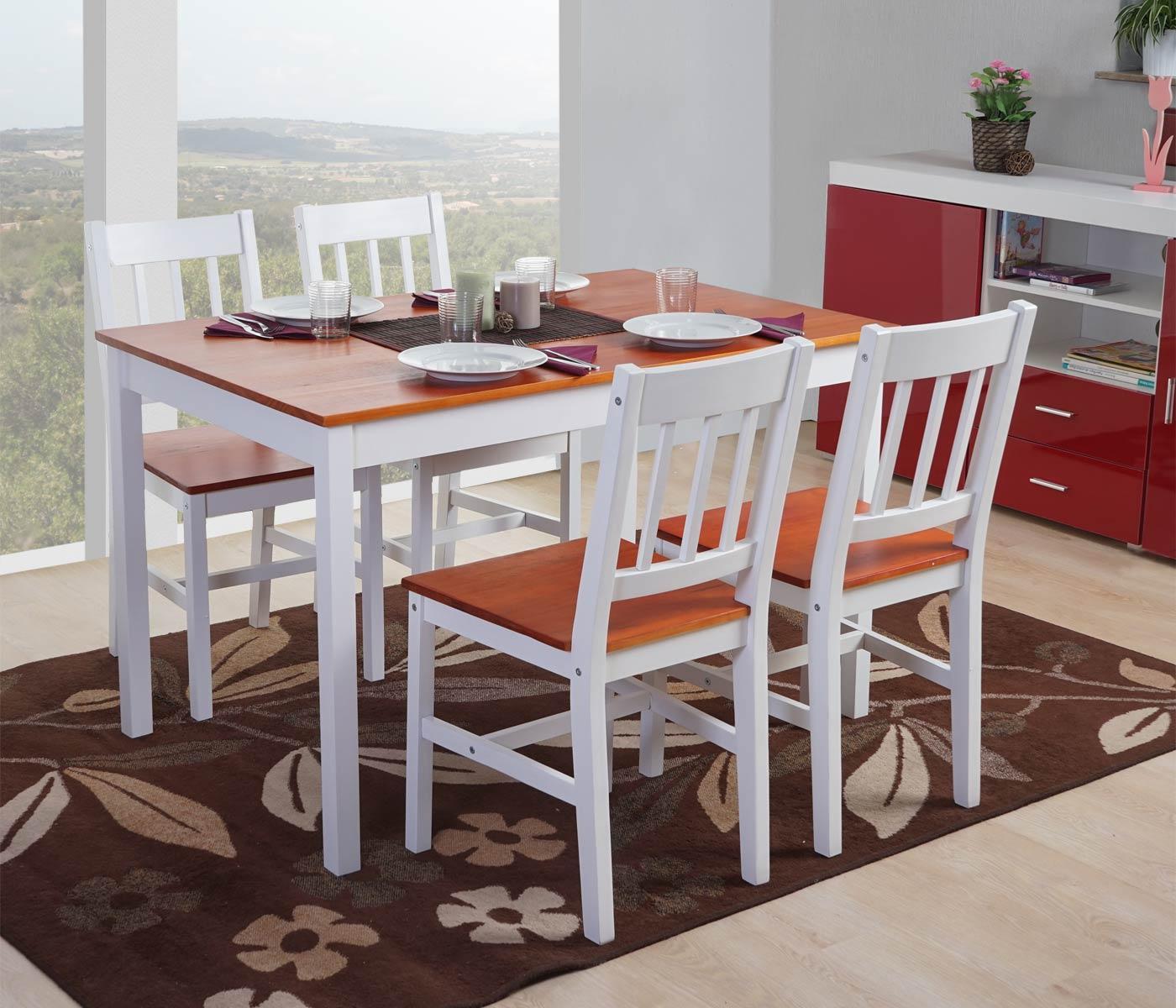Conjunto mesa 4 sillas de cocina o comedor nerja en for Sillas de cocina comedor