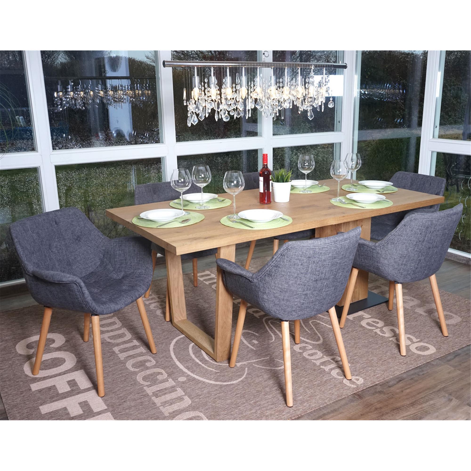 Lote 4 sillas de comedor alber tela estilo retro en gris for Comedores 4 patas