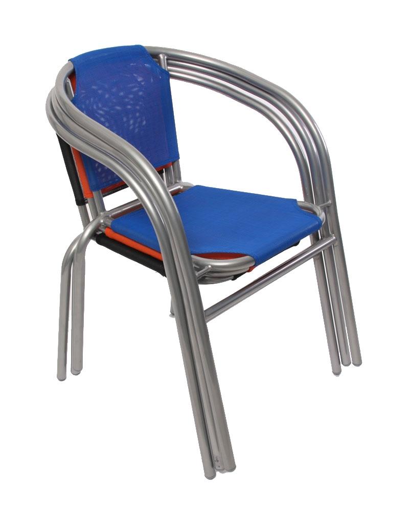 Lote 4 sillas de jard n apilables m31 en aluminio y tela azul - Sillas de jardin de aluminio ...