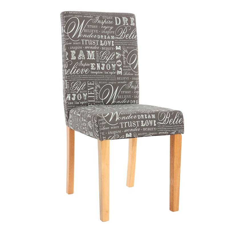 Conjunto de 4 sillas dali con motivos tela gris y patas for Conjunto sillas comedor