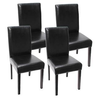 conjunto sillas de comedor litau precioso diseo piel negra patas oscuras