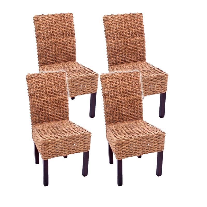 Lote de 4 sillas de Comedor LUCA, En Poly Rattan, Color Gris - Homy.es