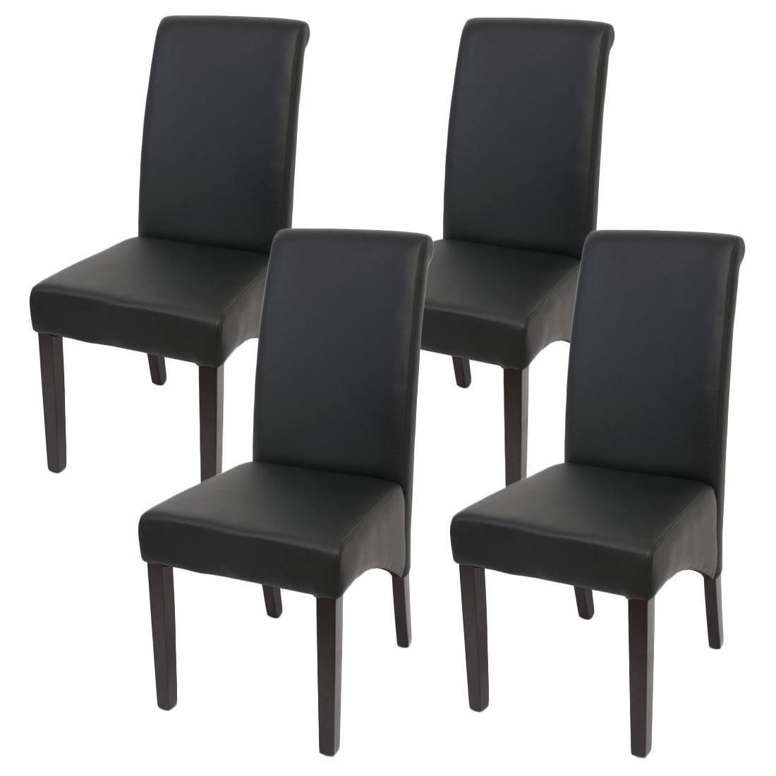 lote sillas de comedor turin tapizadas en piel negra y patas madera oscuras