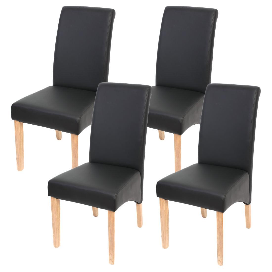 Conjunto de 4 sillas de comedor ODESA, piel marrón y patas oscuras ...